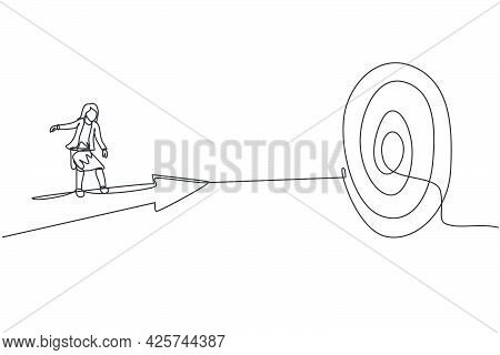 Single Continuous Line Drawing Of Young Female Manager Riding Forward Arrow To Hit Goal Target. Prof
