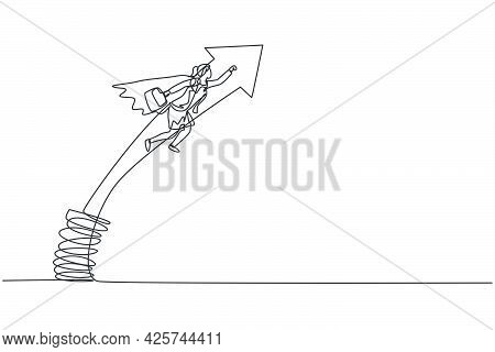 Continuous One Line Drawing Of Young Female Worker Flying Jumping High With Metal Spring. Success Bu