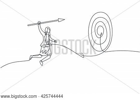 Single One Line Drawing Young Smart Business Woman Jumping High To Hit Target Using Arrow Spear. Bus