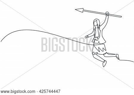 Continuous One Line Drawing Of Young Female Worker Holding Arrow Spear To Hit Target. Success Busine