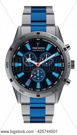 Realistic Watch Clock Chronograph Grey Blue  Metallic Dial Design For Men Fashion On White Backgroun
