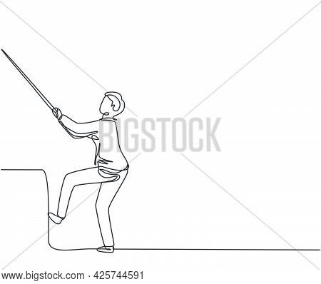 Single Continuous Line Drawing Young Business Man Pulling Rope So Hard To Climb A Stair. Minimalism