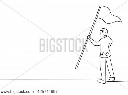 Continuous One Line Drawing Young Male Worker Holding Winning Flag. Success Business Manager Achieve