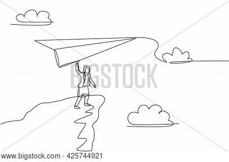 Continuous One Line Drawing Young Female Worker Fly Paper Plane From Top Cliff Edge. Success Busines