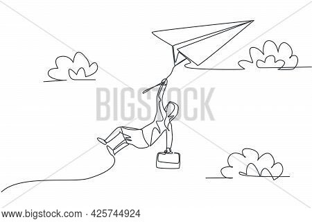 Single Continuous Line Drawing Young Business Woman Hanging At Rope On Flying Paper Plane. Professio