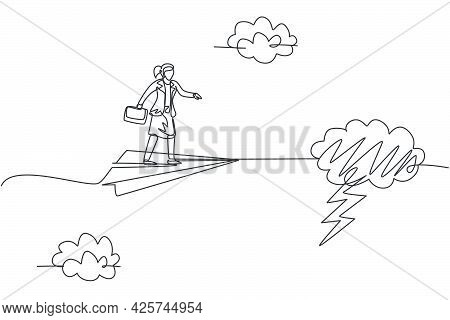 Single Continuous Line Drawing Young Business Woman Fly With Paper Plane Through Thunderstorm. Profe