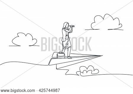 Single Continuous Line Drawing Young Business Woman Flying With Paper Plane While Analyze Market. Su