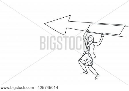 Single Continuous Line Drawing Young Business Woman Hanging On Up Arrow Sign. Professional Entrepren