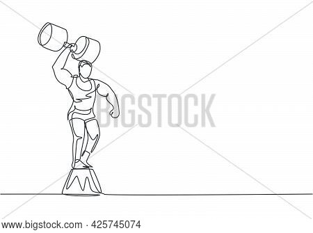 Single Continuous Line Drawing Strong People Lift Large Dumbbells With Only One Hand While Standing