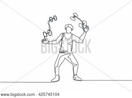 Single One Line Drawing An Acrobat Juggling Small Dumbbells. This Game Requires Dexterity, Concentra