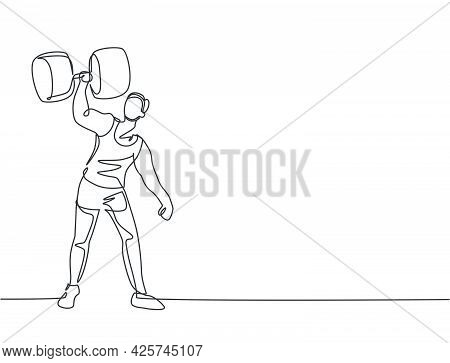 Single Continuous Line Drawing Strong People Lift Large Dumbbells With Only One Hand. Stunt Performe
