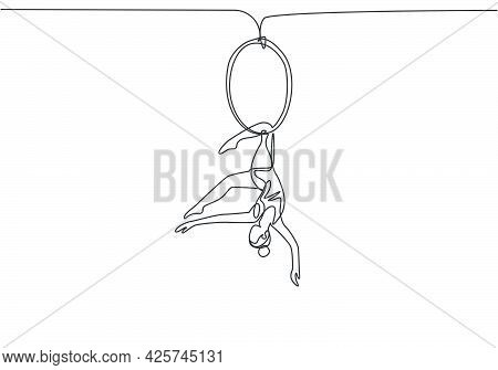 Single One Line Drawing An Acrobatic Woman Who Performs On An Aerial Hoop While Dancing With One Leg