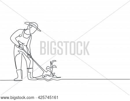 Continuous One Line Drawing Young Male Farmer Shoveled The Soil With The Plants Using A Shovel. Succ