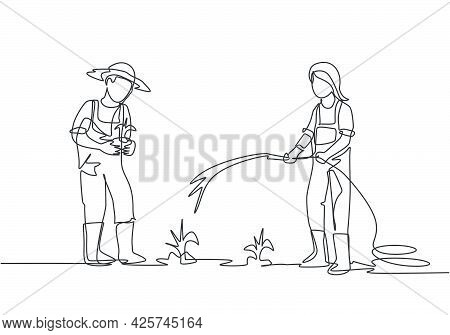 Single Continuous Line Drawing Couple Farmer Watering The Plants Using A Hose And Planting New Plant