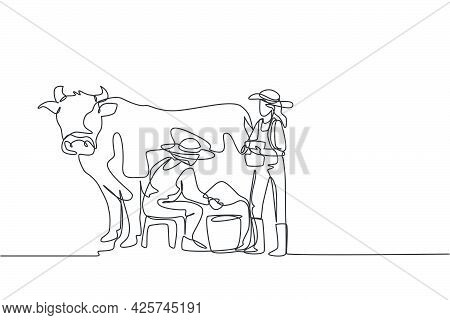 Continuous One Line Drawing Happy Couple Farmer Milking A Cow With Traditional Way Together. A Succe