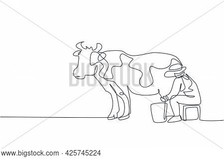 Continuous One Line Drawing Young Female Farmer Milking A Cow With Traditional Way. A Successful Har