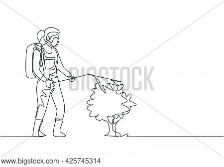 Continuous One Line Drawing Female Farmer, Complete With A Mask, Is Spraying The Plants With A Disin