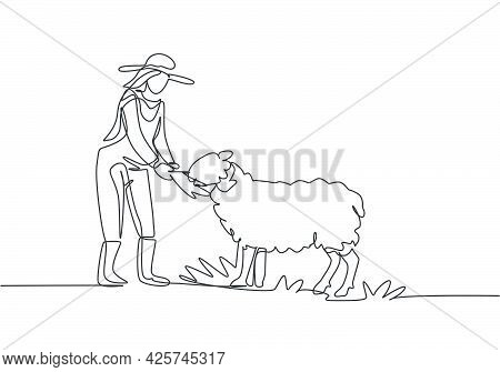 Single Continuous Line Drawing Young Female Farmer Is Feeding The Sheep So That The Sheep Will Be He