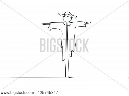 Single Continuous Line Drawing Of Scarecrow Installed By Farmers To Ward Off Pest Birds Which Has Da