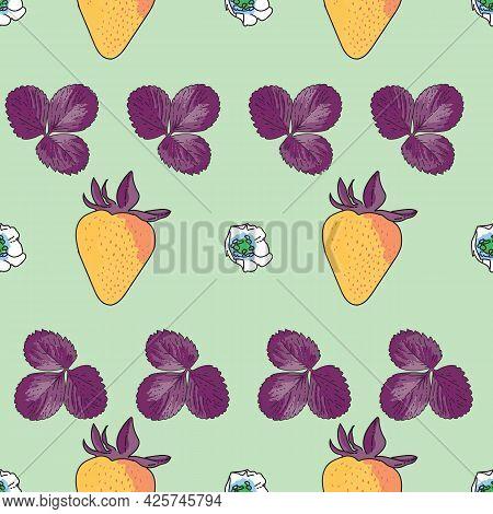 Vector Pastel Green Background Garden Strawberries, Berry Flowers, Berries Fruits. Seamless Pattern