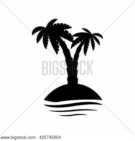 Tropical Palm Trees, Black Silhouettes And Outline Contours On White Background.