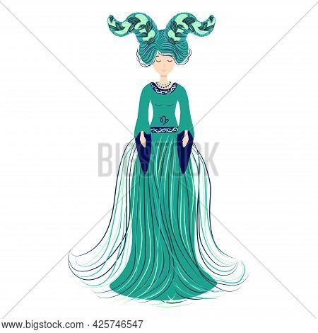 Zodiac, Capricorn Zodiac Sign Illustration As A Beautiful Girl With Braids. Vintage Zodiac Boho Styl