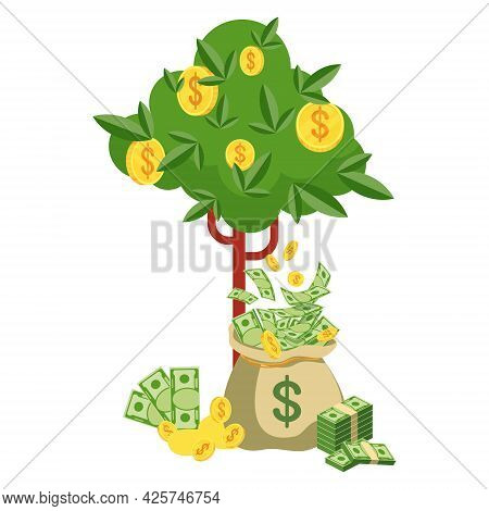 Money Bag And Money Tree With Banknotes. Symbol Of Wealth