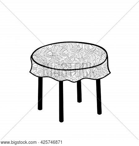 Black Vector Outline Illustration Of A Round Table With Tablecloth Isolated On A White Background