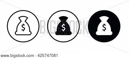 Sack Icon, Money Bag Vector, Sign, Symbol, Logo, Illustration, Editable Stroke, Flat Design Style Is