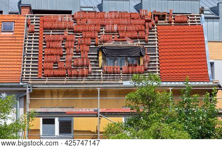 Poznan. Repair Of A Tiled Roof In An Old House.