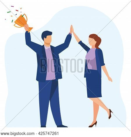 Business Victory, Team Success, Personal Victory - Vector Illustration