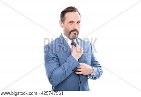 Business Success. Successful Man In Businesslike Suit. Entrepreneur Or Manager.