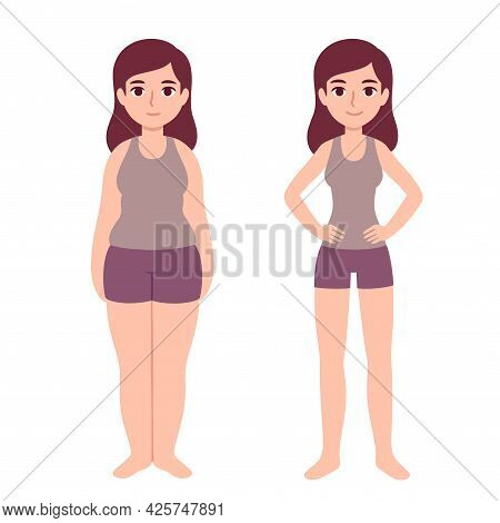 Cute Cartoon Woman In Fitness Clothes With Two Body Types: Overweight And Slim. Weight Loss Before A