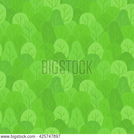 Seamless Forest Background. Repeating Pattern Of Hand Drawn Bright Green Trees. Vector Clip Art Illu