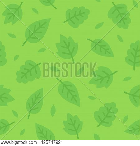 Green Leaf Seamless Pattern. Simple Cartoon Leaves Background Texture. Vector Illustration.