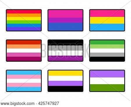 Lgbt Pride Flags Sticker Set, Outlined Icons. Sexual And Gender Identity Symbols. Vector Clip Art Il