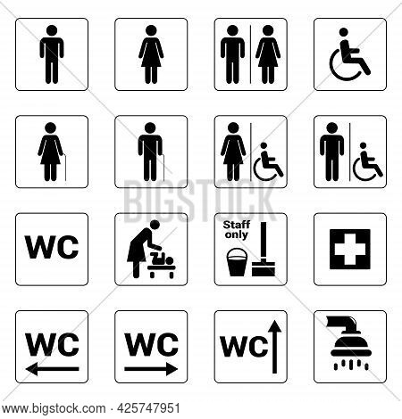 Toilet Signs, Set Of Vector Toilet Symbols Icons, Wc Pictogram. Black On White Bacground