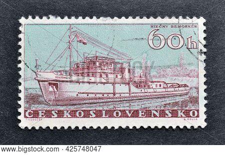 Czechoslovakia - Circa 1960 : Cancelled Postage Stamp Printed By Czechoslovakia, That Shows River Tu