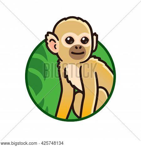 Cute Cartoon Tropical Rainforest Squirrel Monkey In Circle Logo. Vector Clip Art Illustration.