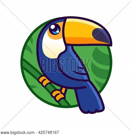 Cute Cartoon Toco Toucan Drawing In Circle. Exotic Rainforest Bird Vector Illustration.