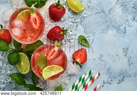 Two Glasses Of Punch And Fresh Ingredients For Making Lemonade, Infused Detox Water Or Cocktail. Str