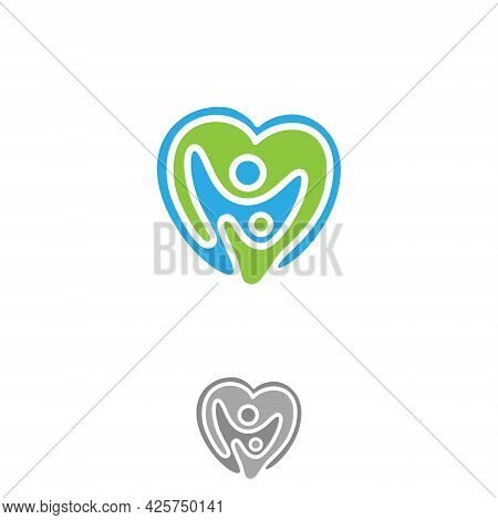 Vector Abstract Love With Two People Icon Symbol With Bold Outline. People In Abstract Shape. Vector