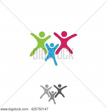 Colorful Vector Abstract Three People Icon Symbol With Bold Outline. People In Abstract Shape. Vecto