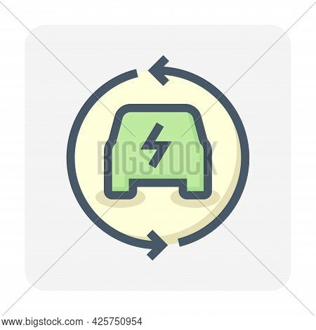 Electric Vehicle (ev) Vector Icon. Consist Of Car, Electrical, Arrow. That Charge, Recharge To Suppl
