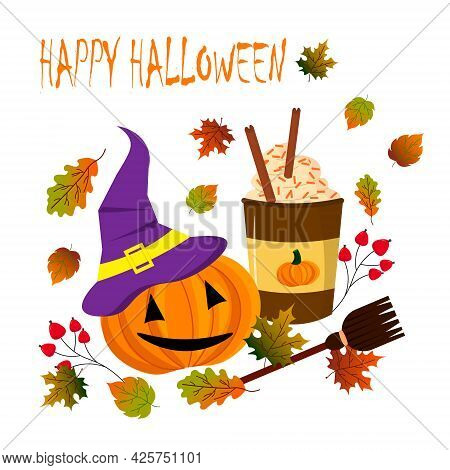 Halloween Postcard Template. Pumpkin, Hat, Coffee Stall And Broomstick With Autumn Leaves. Vector Il