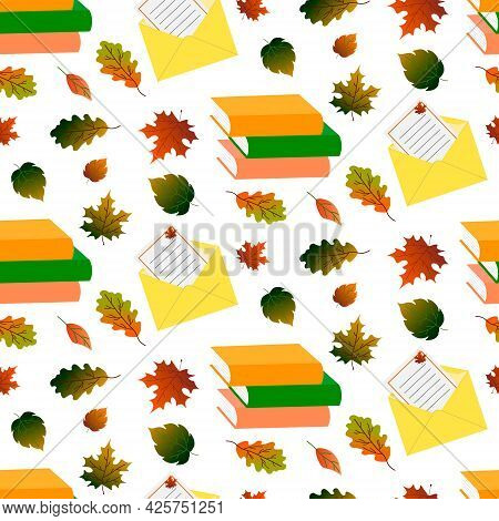 Pattern With Books, Autumn Leaves And A Postal Envelope With A Letter. Vector Illustration. For Use