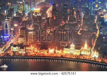 Shanghai urban architecture over Huangpu River at night