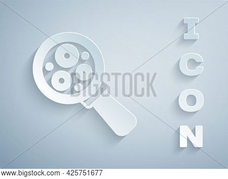 Paper Cut Microorganisms Under Magnifier Icon Isolated On Grey Background. Bacteria And Germs, Cell