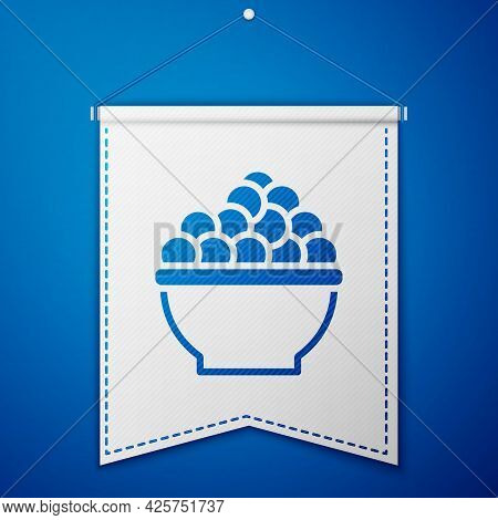 Blue Caviar Icon Isolated On Blue Background. White Pennant Template. Vector