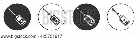 Black Laser Distance Measurer Icon Isolated On White Background. Laser Distance Meter Measurement Eq
